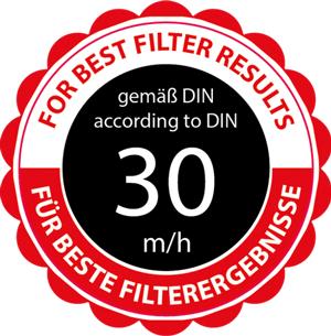 30 m/h Filtergeschwindigkeit