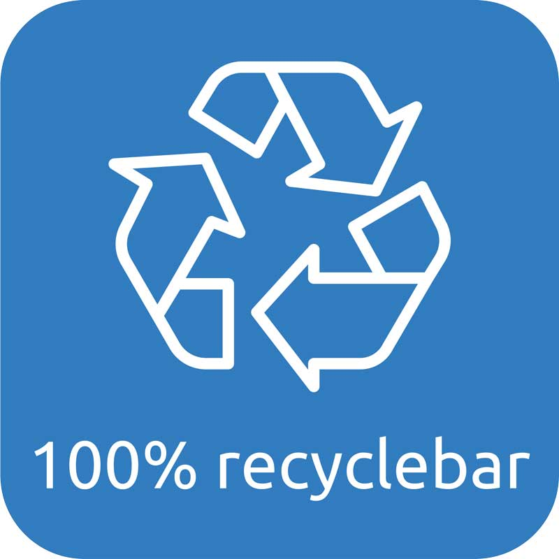 Glasgefäß zu 100% recyclebar